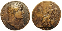 Ancient Coins - Hadrian. Sestertius. Roma Seated On Cuirass.