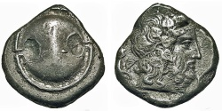 Ancient Coins - BOEOTIA, THEBES. Stater. Boeotian Shield / Dionysos.