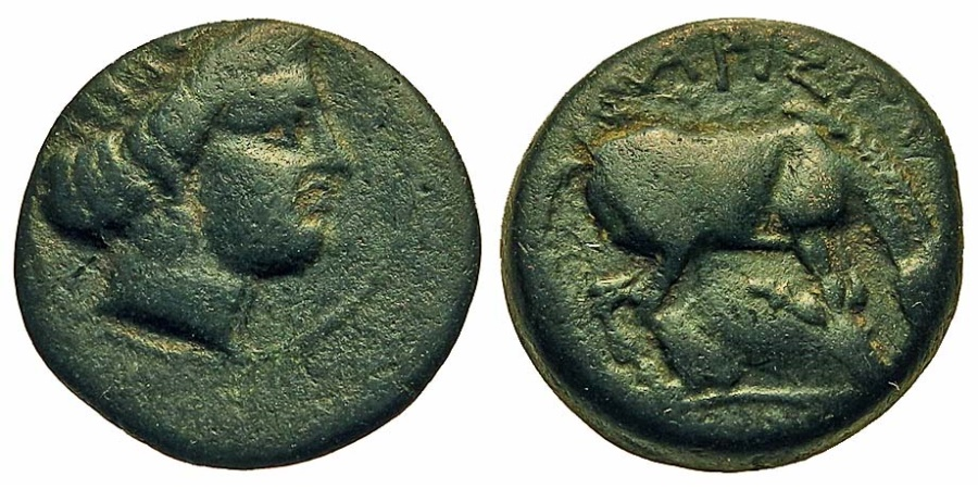 Ancient Coins - Thessaly, Larissa. Æ 17 mm. Nymph / Horse Rolling.