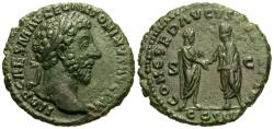 Ancient Coins - Marcus Aurelius. Æ As. Aurelius & Verus Clasp Hands.