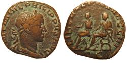 Ancient Coins - Philip II. Æ Sestertius. The Philippi on Curule Chairs.