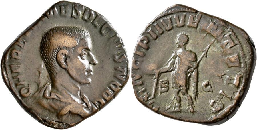 Ancient Coins - Herennius Etruscus, As Caesar. Æ Sestertius.