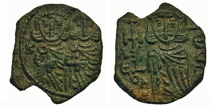 Ancient Coins - Constantine V w/Leo IV. Follis. Syracuse Mint.