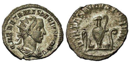 Ancient Coins - Herennius Etruscus. Antoninianus. Sacrificial Implements.