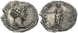 Ancient Coins - Marcus Aurelius, As Caesar. AR Denarius. Clementia.