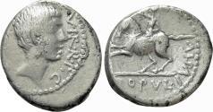 Ancient Coins - Octavian. AR Denarius. Equestrian Statue.