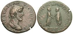 Ancient Coins - Pontus, Amasia. Lucius Verus. Æ 34 mm. Verus & Aurelius Clasping Hands.