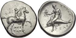 Ancient Coins - Calabria, Tarentum. AR Nomos. Boy On The Dolphin.