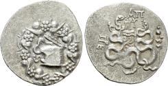 Ancient Coins - Mysia, Pergamon. AR Cistophoric Tetradrachm. Cista Mystica.
