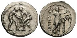 Ancient Coins - Pamphylia, Aspendos. AR Stater. Two Wrestlers Grappling.