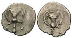 Ancient Coins - Calabria, Tarentum. AR Obol. Kantharos.