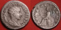 Ancient Coins - GORDIAN III AR silver denarius. Romae Aeternae, Roma seated on shield