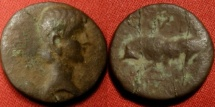 Ancient Coins - AUGUSTUS AE quadrans. Lugdunum mint, 15 BC - 10 AD. Bull butting left. Rare.