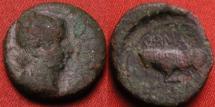 Ancient Coins - NORTHERN GAUL, under AUGUSTUS, AE quadrans. Temporary issue, struck under Germanus Indutilli. Bull butting.