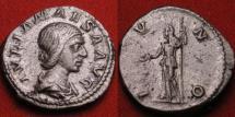 Ancient Coins - JULIA MAESA AR silver denarius. IVNO, Juno standing. Heavy 4.0g.