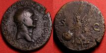Ancient Coins - VESPASIAN AE dupondius. Lugdunum mint, 77-78 AD. Victoria advancing, holding shield inscribed SPQR.