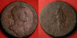Ancient Coins - HADRIAN AE sestertius. Togate Hadrian holding volumen, extending hand to receive scepter from eagle. Very scarce