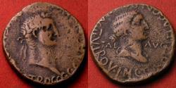 Ancient Coins - CALIGULA AE 28mm 'as'. Carthago Nova, Spain. Bust of Salus, or Caesonia as Salus.