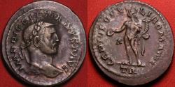 Ancient Coins - DIOCLETIAN AE silvered large follis. Trier mint. Genius standing.