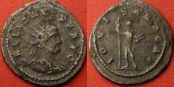 Ancient Coins - GALLIENUS billon antoninianus. Antioch mint. IOVI STATORI, Jupiter holding thunderbolt.