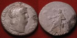 Ancient Coins - NERO AR silver denarius. SALUS seated on throne. Rome, 66-67 AD
