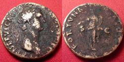 Ancient Coins - NERVA AE orichalcum dupondius. Fortuna standing, holding rudder & cornucopia. 97-98 AD.