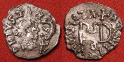 World Coins - GEPIDS AR silver quarter siliqua. Migration period. Struck in the name of Justin I, INVICTA ROMANI around monogram of Theoderic.