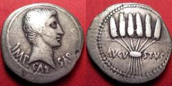 Ancient Coins - AUGUSTUS (Octavian) AR silver cistophorus. Ephesus, 24-20 BC. Six wheat ears tied in bundle