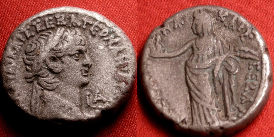 Ancient Coins - CLAUDIUS & MESSALINA AR billon tetradrachm. Regnal year 1. Messalina standing, holding children.