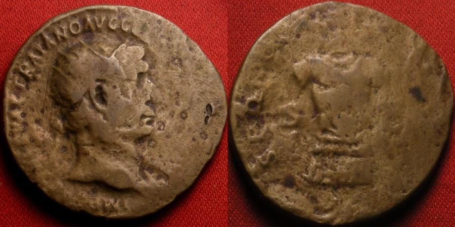 Ancient Coins - TRAJAN AE dupondius. 104-107 AD. Facing cuirass consisting of lorica segmentata, lappettes and pteryges. Very scarce.