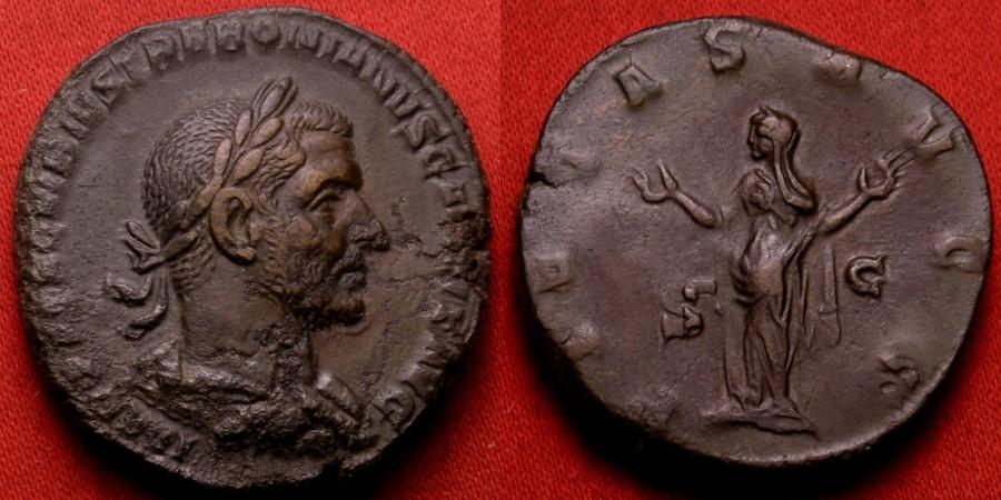 Ancient Coins - TREBONIANUS GALLUS AE sestertius. PIETAS AVGG, Pietas standing, arms raised. Lovely portrait.