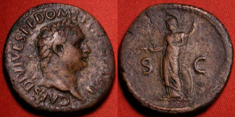 Ancient Coins - DOMITIAN, as Caesar under Titus, AE as. Minerva standing left, holding thunderbolt & spear. Very scarce