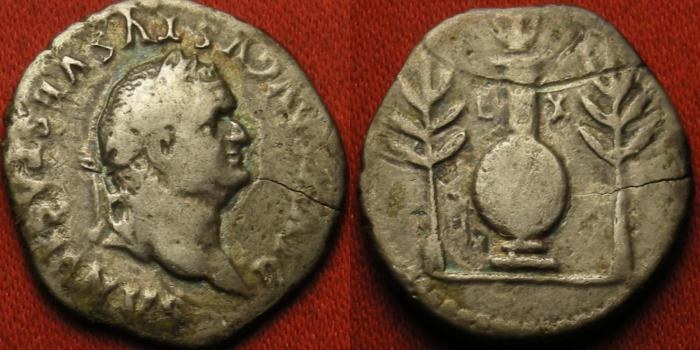 Ancient Coins - DIVUS VESPASIAN AR silver denarius. Struck 80 AD, by Titus. Round shield upon column, urn atop. Scarce.