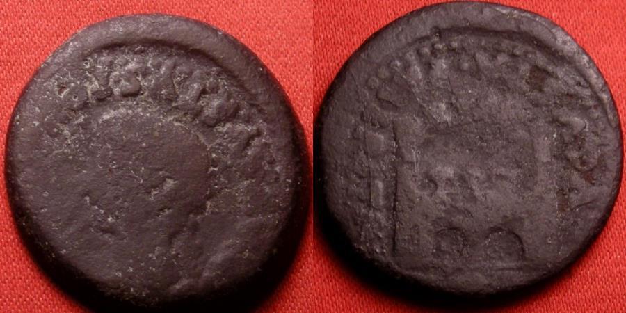 Ancient Coins - TIBERIUS AE as. Augusta Emerita, Lusitania. City gate. Scarce