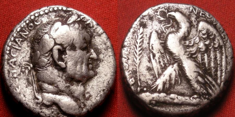 Ancient Coins - VESPASIAN AR silver tetradrachm. Eastern mint, likely Antioch. Eagle standing on thunderbolt.