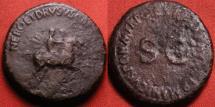 Ancient Coins - NERO & DRUSUS Caesars (Caligula's older brothers), AE dupondius, Equestrian statues. Rare. 14.8g.