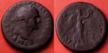 Ancient Coins - VESPASIAN AE as. Struck at Rome, 74-75 AD. VICTORIA AVGVST, Victory advancing. Judea Capta type.