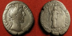 Ancient Coins - COMMODUS AR silver denarius. NOBILIT AVG, Nobilitas standing, holding scepter & statuette of Minerva. Very scarce.