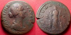Ancient Coins - FAUSTINA II JUNIOR AE sestertius. Fecunditas standing, with four children