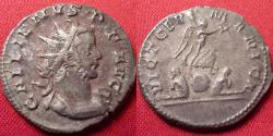 Ancient Coins - GALLIENUS AR silver antoninianus. Struck at Lugdunum. Victory, standing on globe, between captives. VICT GERMANICA.