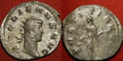 Ancient Coins - GALLIENUS AR silver antoninianus. LAETITIA standing, holding wreath & anchor.