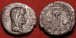 Ancient Coins - MARCUS JUNIUS BRUTUS (as Quintus Caepio Brutus) AR silver denarius. Eastern military mint, 42 BC. Bust of Libertas. Tripod, axe & simpulum