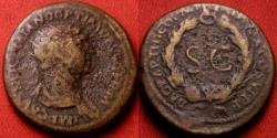 Ancient Coins - TRAJAN AE radiate 'semis' or 'reduced dupondius'. Struck at Rome, or Commagene/Cyprus/Antioch for use in the East. Full shouldered bust