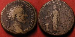 Ancient Coins - MARCUS AURELIUS AE orichalcum dupondius. Salus standing, feeding serpent arising from altar.