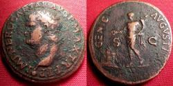 Ancient Coins - NERO AE as. Genius standing, sacrificing over altar. Lugdunum, 66 AD