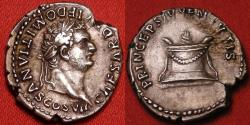 Ancient Coins - DOMITIAN, as Caesar under Titus, AR silver denarius. Rome, 80 AD. Lit, garlanded altar. Excellent portrait