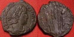 Ancient Coins - CONSTANTINE I THE GREAT AE3. Arles mint, Soldiers & standards. Palm branch between.
