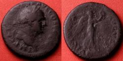 Ancient Coins - VESPASIAN AE as. Struck at Rome, 74-75 AD. VICTORIA AVGVST, Victory advancing. Judea Capta type.