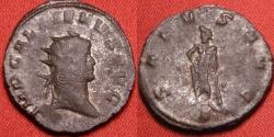 Ancient Coins - GALLIENUS billon antoninianus. Aeclepius standing left, holding caduceus staff.