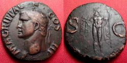 Ancient Coins - AGRIPPA AE as. Neptune standing, holding trident & dolphin. Memorial issue by Caligula. Lovely